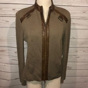 St John Sport brown knit & leather jacket small